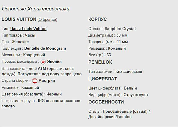 Технические параметры реплики часов Louis Vuitton Dentelle de Monogram