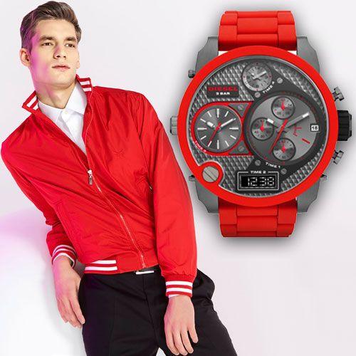 Мужские красные часы Дизель