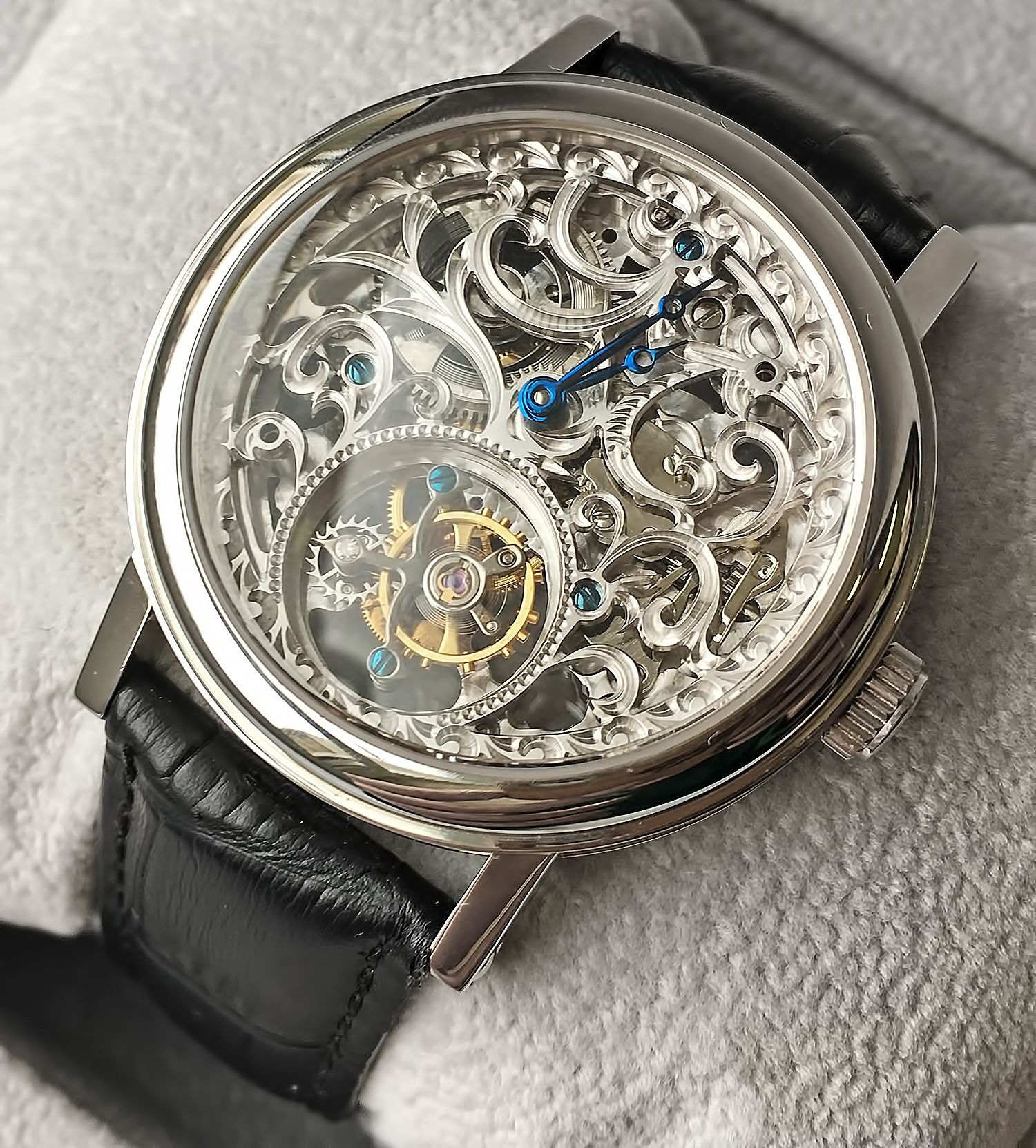 Точная копия часов Breguet Classique Skeleton Tourbillon Steel Watch